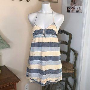 Heritage 1981 Silk Striped Halter Dress Size M